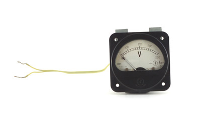 Old unplugged, voltage meter isolated on white closeup