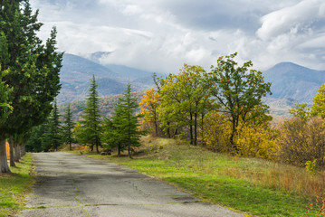 Crimean mountains landscape at fall season.