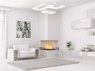 Interior of modern white room 3d render