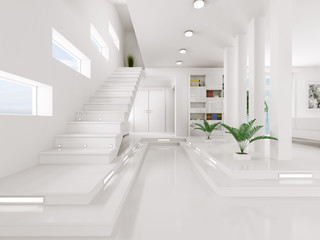 White Entrance hall interior 3d render