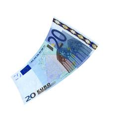 20 Euroschein fliegt