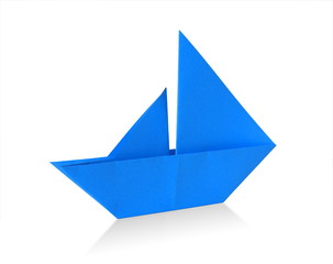 blue origami sailboat