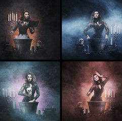 A collage of witches making potions on Halloween