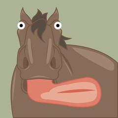 funny cartoon horse showing tongue