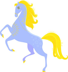 blue horse with a golden mane jumping into the new year