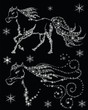 silhouettes of horses in the snow flakes on a black background