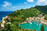 Fototapety Portofino village on Ligurian coast, Italy