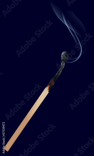 Burned match stick on dark. Vector illustration