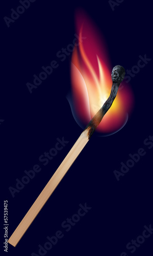 Burning match on black. Vector illustration