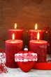 vier rote Adventskerzen