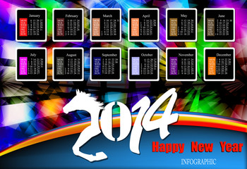 Creative Happy New Year 2014. Infographic Calendars. Vector
