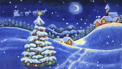 Rentierschlitten über Schneelandschaft - Frohe Weihnachten!