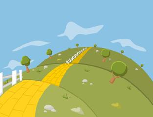 Yellow Brick Road on green hill