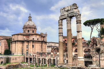 Ancient roman ruins at the Fori Imperiali, Rome