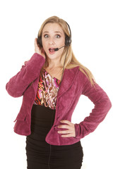 woman jacket headset shocked
