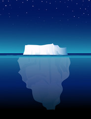 Iceberg at Night-vector illustration