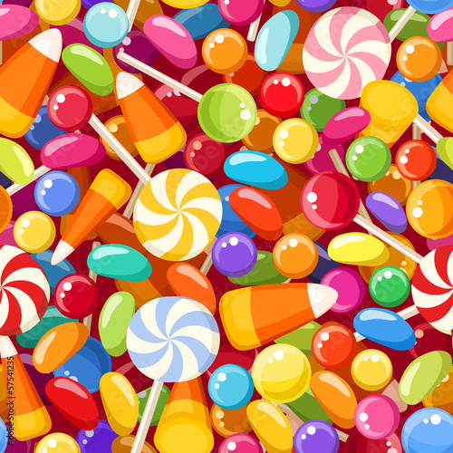 Seamless background with various candies. Vector illustration.