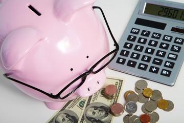 Pig bank and calculator