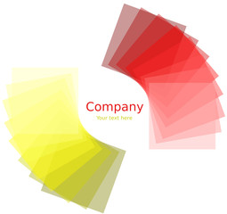 Quadrati attorno ad un cerchio con gradiente giallo e rosso