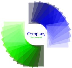 Quadrati attorno ad un cerchio con gradiente verde e blu