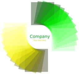 Quadrati attorno ad un cerchio con gradiente giallo e verde