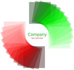 Quadrati attorno ad un cerchio con gradiente rosso e verde