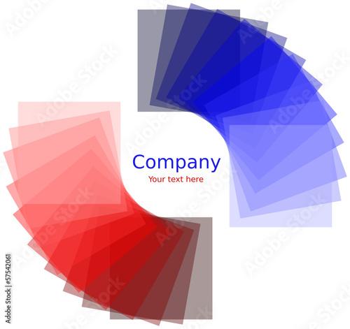Quadrati attorno ad un cerchio con gradiente rosso e blu