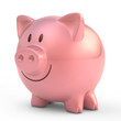 Piggy bank with smiling face.