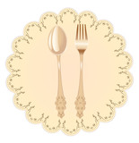 Vintage napkin and spoon with fork