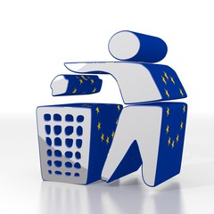 3d render of a isolated delete icon  with eu flag pattern