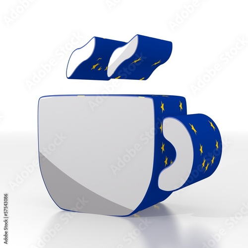 3d graphic of a european coffee symbol  with eu flag pattern