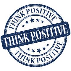 think positive grunge round blue vintage stamp