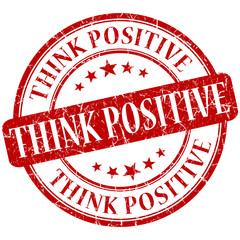 think positive grunge round red stamp on white background