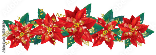 Christmas garland of poinsettia
