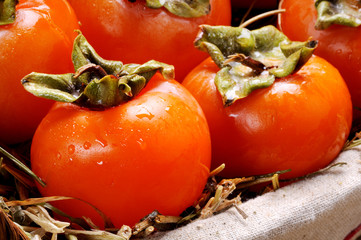 Closeup of persimmons fruits