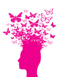 Pink head silhouette and butterflies - 57544492