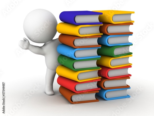 3D Man waving from behind stacks of books