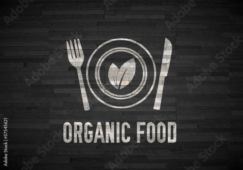 organic food label  on noble stone texture