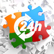 Service 24h Icon on Multicolor Puzzle.