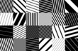 geometric background with black and white striped squares