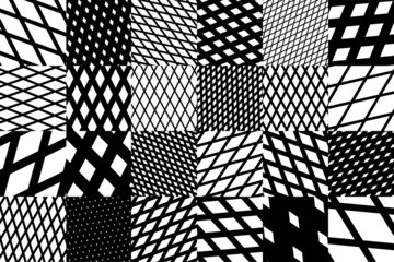 background with black and white cross diagonal striped pattern