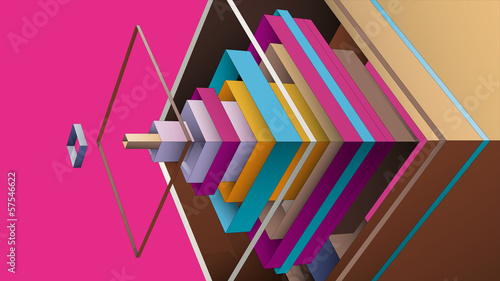 abstract composition from multicolor rhombus