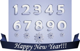 Plane Numbers and Snowflakes with Shadows and Blue Ribbon