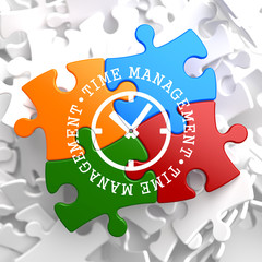 Time Management Concept on Multicolor Puzzle.