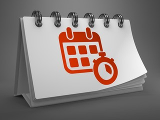Desktop Calendar with Red Icon. Time Concept.