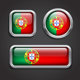 Portugal  flag glass buttons