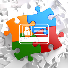 ID Card Icon on Multicolor Puzzle.