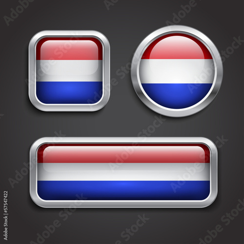 Holland flag glass buttons