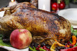Roasted goose on the table