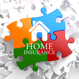 Insurance - Home Icon on Multicolor Puzzle.